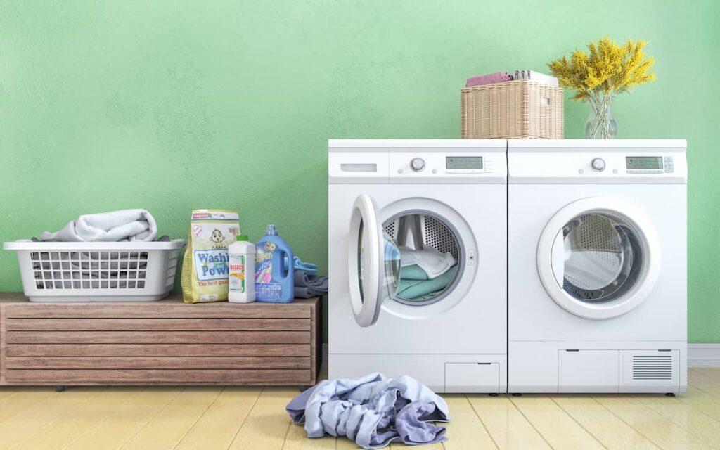Wasmachine met wasmiddel